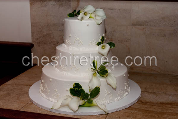 Flowers & Decor, Cakes, white, cake, Flowers, Calla, Lilies, Layers, Stacked, Cheshire tree floral designs
