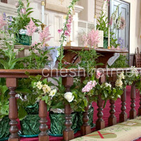 Ceremony, Flowers & Decor, Destinations, white, pink, green, North America, Ceremony Flowers, Flowers, Church, Communion, New york, Plants, Rail, Cheshire tree floral designs, Armonk