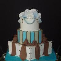 Reception, Flowers & Decor, Cakes, white, blue, brown, cake, Fluer, Di, Les
