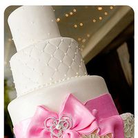 Reception, Flowers & Decor, Cakes, white, pink, cake, Bows, Cute