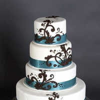 Reception, Flowers & Decor, Cakes, white, blue, brown, cake, Cute, Swirls