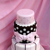 Reception, Flowers & Decor, Cakes, white, pink, black, cake, Bow, Cute
