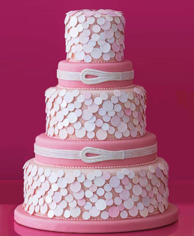 Reception, Flowers & Decor, Cakes, white, pink, silver, cake, Modern, Modern Wedding Cakes, Cute