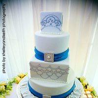 Reception, cake, white, blue, silver, Ribbons, Cute, Cakes, Flowers & Decor