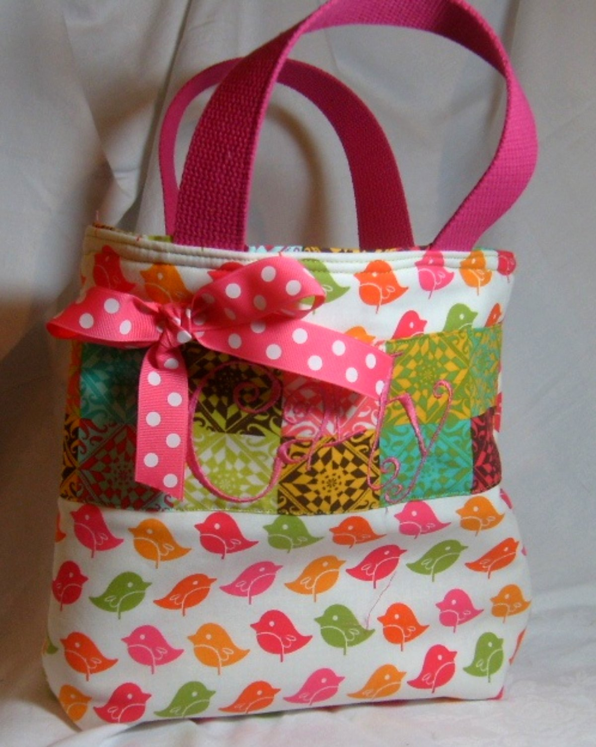 Flowers & Decor, orange, pink, green, Flower, Girl, Monogram, Custom, Personalized, Tote, Chamberrycherrydesigns