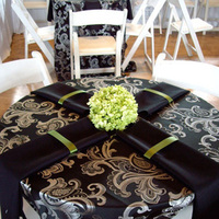 Reception, Flowers & Decor, white, green, black, Centerpieces, Flowers, Table, Cloth