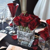 white, red, black, Centerpieces, Winter Wedding Flowers & Decor