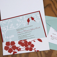 Flowers & Decor, Stationery, red, blue, Modern Wedding Invitations, Invitations, Flower, Birds, Tree, Love, Pink plum design