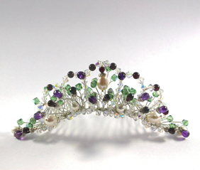 Beauty, Jewelry, white, red, purple, green, silver, Tiaras, Comb, Romantic, Hair, Tiara, Crystal, Pearl, Gemstone