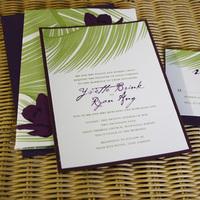 Stationery, purple, green, invitation, Invitations, Orchids, Palm, Leaves, Pink plum design