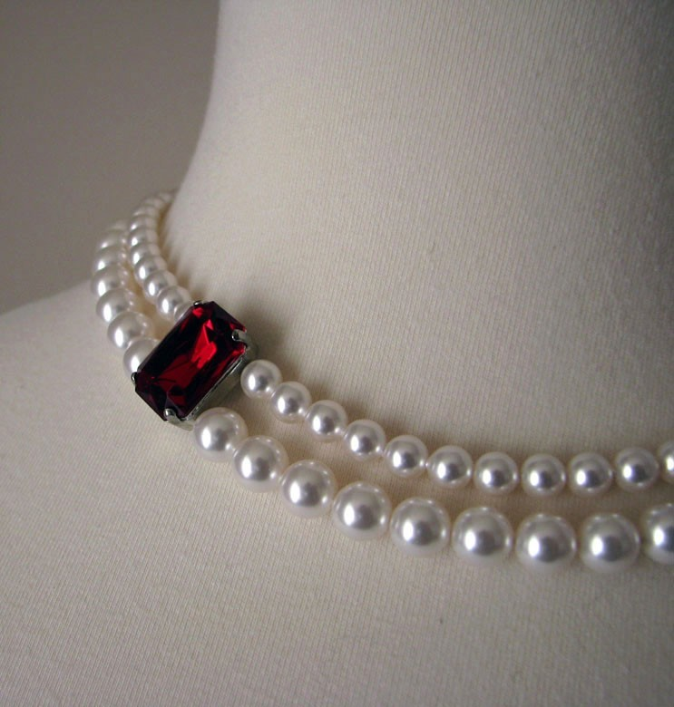 Jewelry, white, red, Necklaces, Bridal, Necklace, Swarovski, Pearl, Mercury jane designs