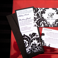 Stationery, white, black, Invitations, Red pearl designs