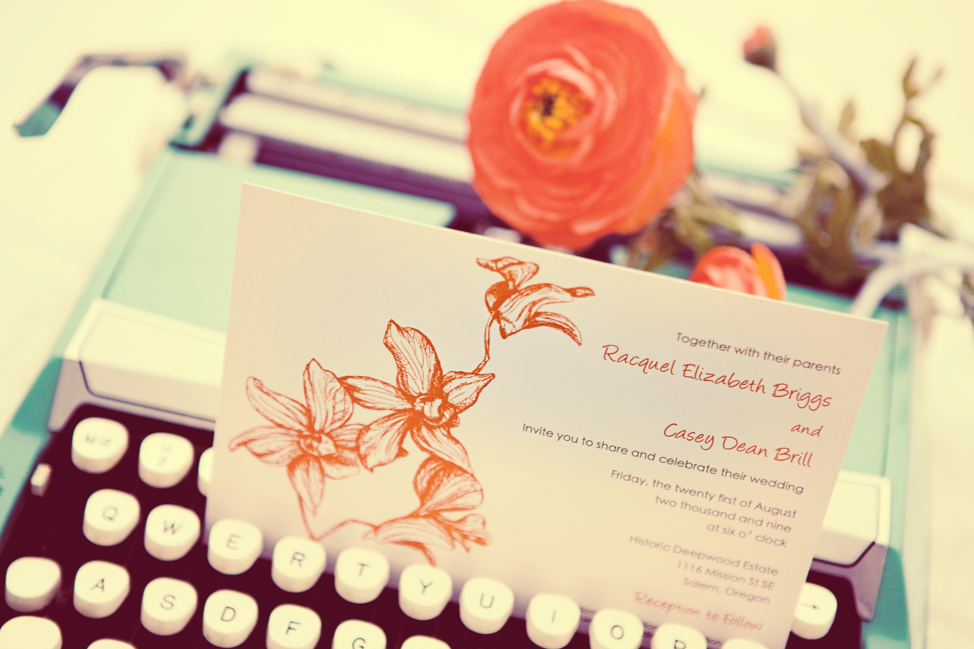 Stationery, white, orange, invitation, Garden Wedding Invitations, Invitations, Orchid, Wedding, Simple, Stationary, Tangerine, 5x7, Red pearl designs