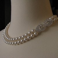 Jewelry, white, silver, Necklaces, Bridal, Necklace, Rhinestone, Pearl