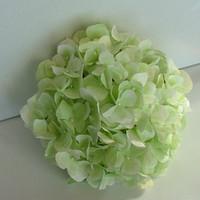 Ceremony, Reception, Flowers & Decor, Paper, green, Ceremony Flowers, Flowers, Pomander, Hydrangea, Kissing, Ball