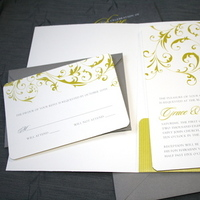 Stationery, yellow, gray, Invitations, Swirls, Pink plum design, Fleuron