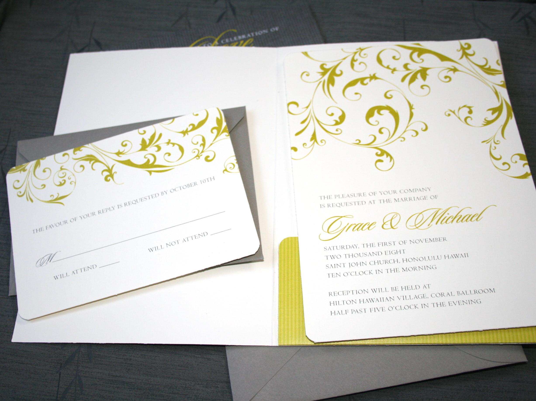 Stationery, yellow, gray, Invitations, Swirls, Pink plum design, Fleuron