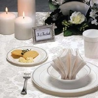 Registry, Place Settings, Plates, Cups, Disposable, Plastic, Upscale party disposables