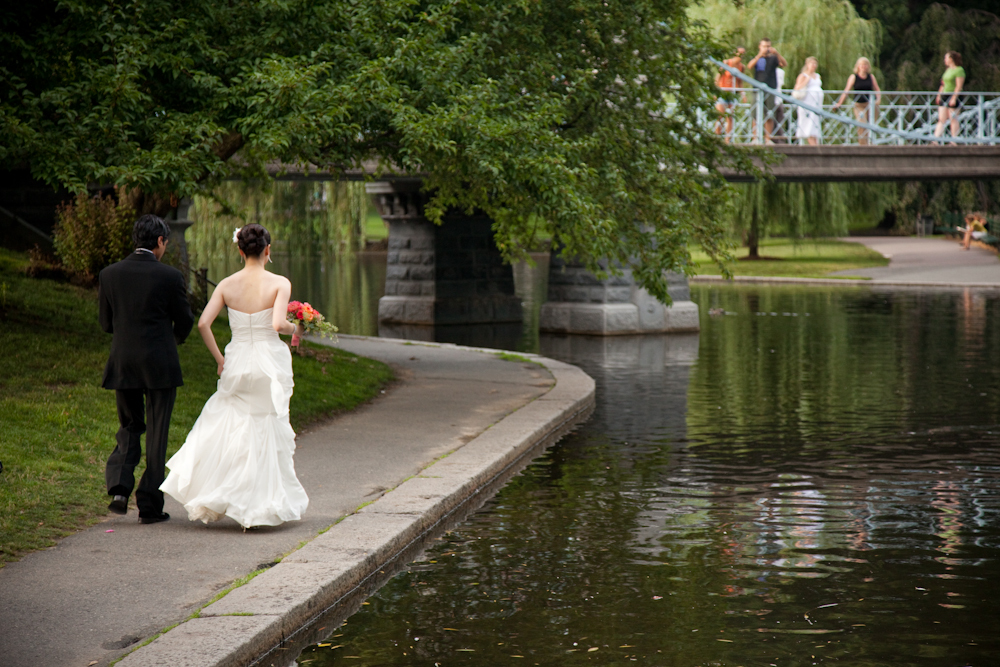 Reception, Flowers & Decor, Wedding Dresses, Fashion, white, dress, Walking, Hindu, Korean, Boston, Public gardens, Shane godfrey photography, Taj