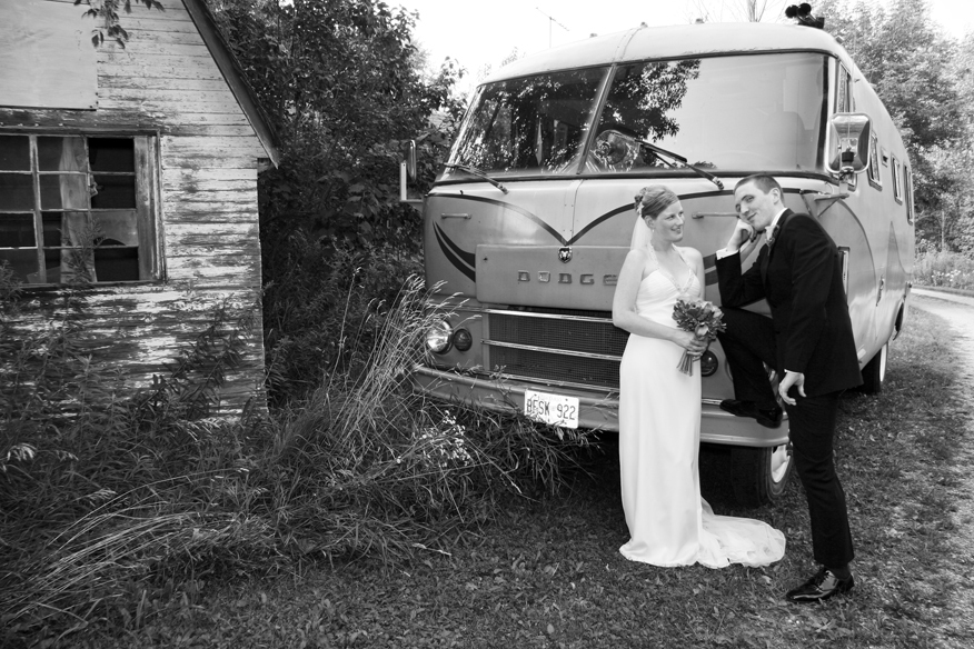 Bride, Groom, Old, Bus, Sarah wiggins photography