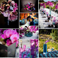 Inspiration, Reception, Flowers & Decor, Stationery, pink, purple, blue, black, Invitations, Flowers, Board
