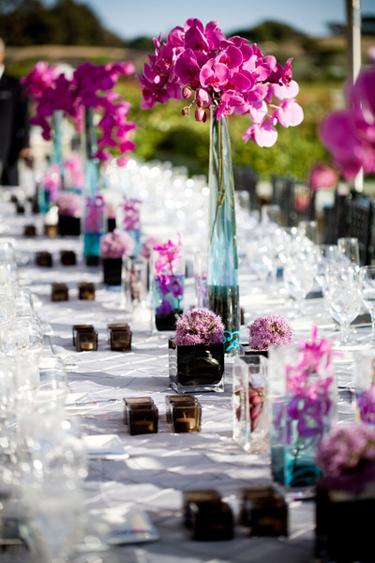 Reception, Flowers & Decor, pink, purple, blue, black, Flowers