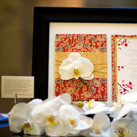 Stationery, Invitations, Orchid, Asian, Brocade