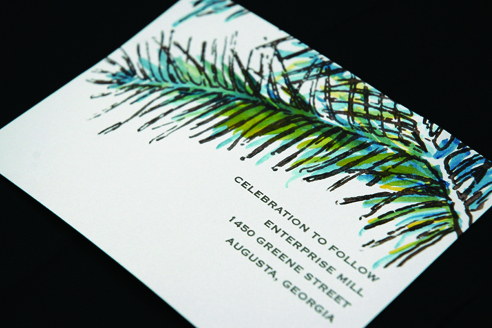 Reception, Flowers & Decor, Stationery, green, brown, invitation, Invitations, Christmas, Evergreen, Courtney khail stationery and design