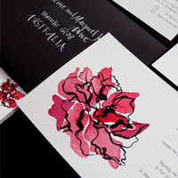 Stationery, red, black, Invitations, Peony, Courtney khail stationery and design