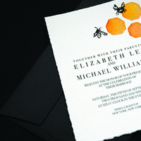 Stationery, yellow, orange, brown, black, invitation, Invitations, Bee, Honeycomb, Courtney khail stationery and design