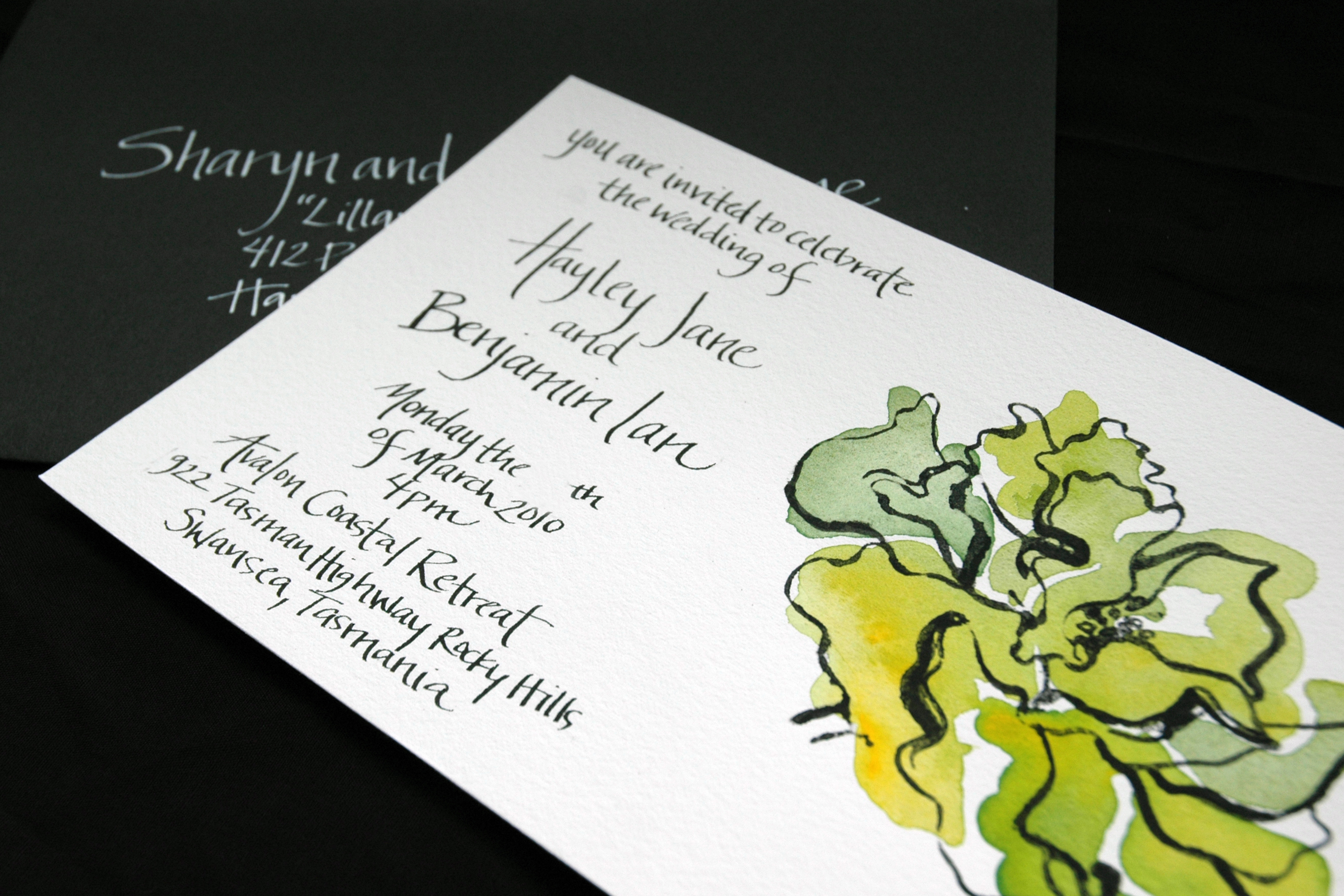 Stationery, green, black, invitation, Invitations, Custom, Peony, Handwritten, Courtney khail stationery and design