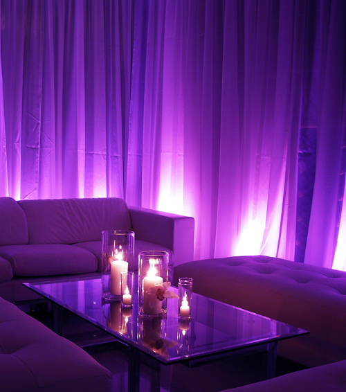 Reception, Flowers & Decor, Purple uplights