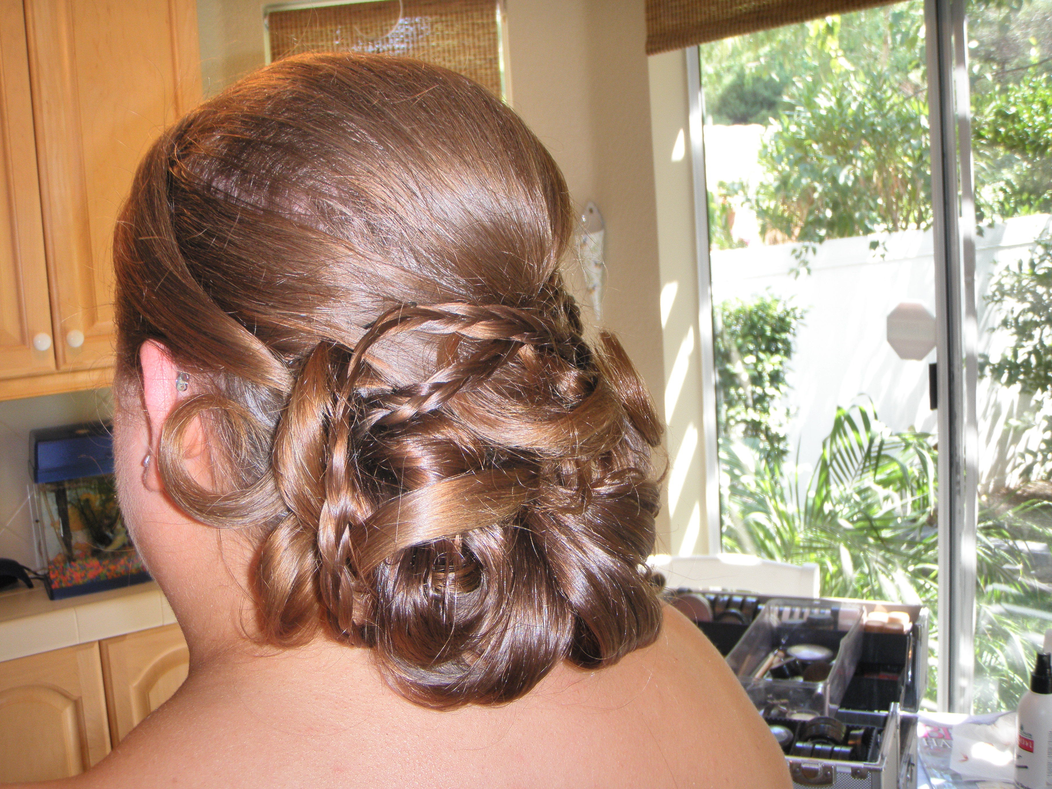 Beauty, Chignon, Low, Bridesmaid, Hair, Dark, Braids, Up-do