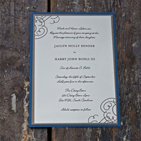 Stationery, blue, brown, invitation, Modern, Modern Wedding Invitations, Invitations, Wedding, Swirls, Ella elise stationery