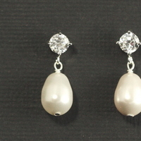 Jewelry, white, silver, Earrings, Wedding, Romantic, Bridal, Elegant, Swarovski, Drop, Rhinestone, Pearl, Sterling, Dangle, Cubic, Zirconia, Handcrafted, Plumb crazy