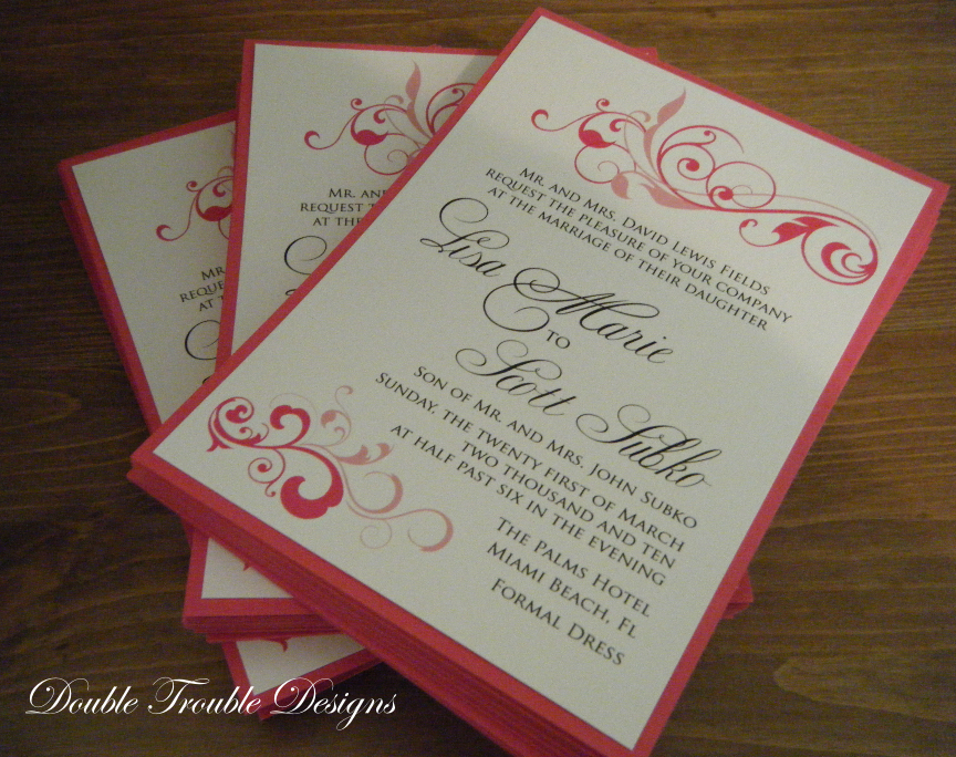 Stationery, pink, black, invitation, Invitations, Invite, Swirl, Double trouble designs-custom monograms and more, Double trouble designs