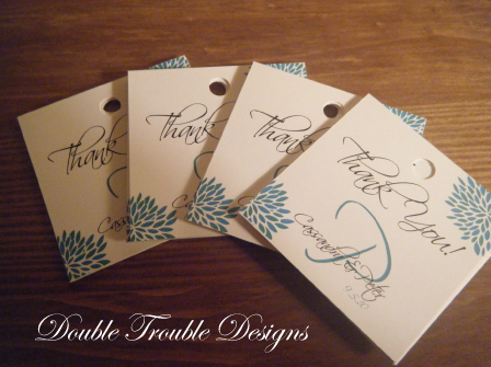 Reception, Flowers & Decor, Favors & Gifts, blue, green, favor, Square, Flower, Monogram, Tags, Favor tag, Favor tags, Double trouble designs-custom monograms and more, Double trouble designs
