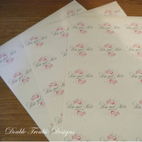 pink, Monogram, Custom, Swirl, Stickers, Double trouble designs-custom monograms and more