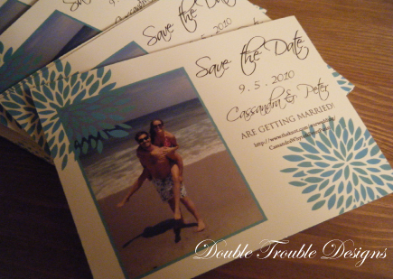 Flowers & Decor, Stationery, blue, green, Invitations, Save-the-Dates, Flower, Save the date, Photo, Std, Double trouble designs-custom monograms and more, Double trouble designs, Photo save the date