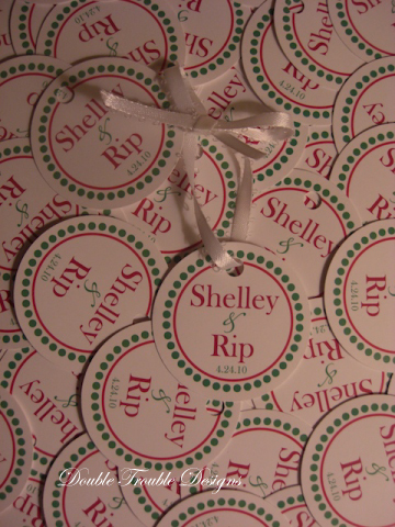 Favors & Gifts, pink, green, favor, Monogram, Tag, Tags, Favor tag, Circle, Favor tags, Double trouble designs-custom monograms and more