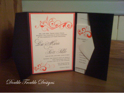 Stationery, white, pink, black, Invitations, Map, Rsvp, Pocketfold, Swirl, Double trouble designs-custom monograms and more, Invitation suite