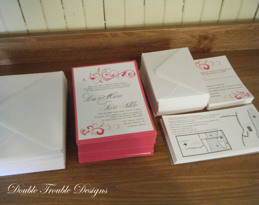 Stationery, pink, Invitations, Map, Rsvp, Invites, Swirl, Double trouble designs-custom monograms and more