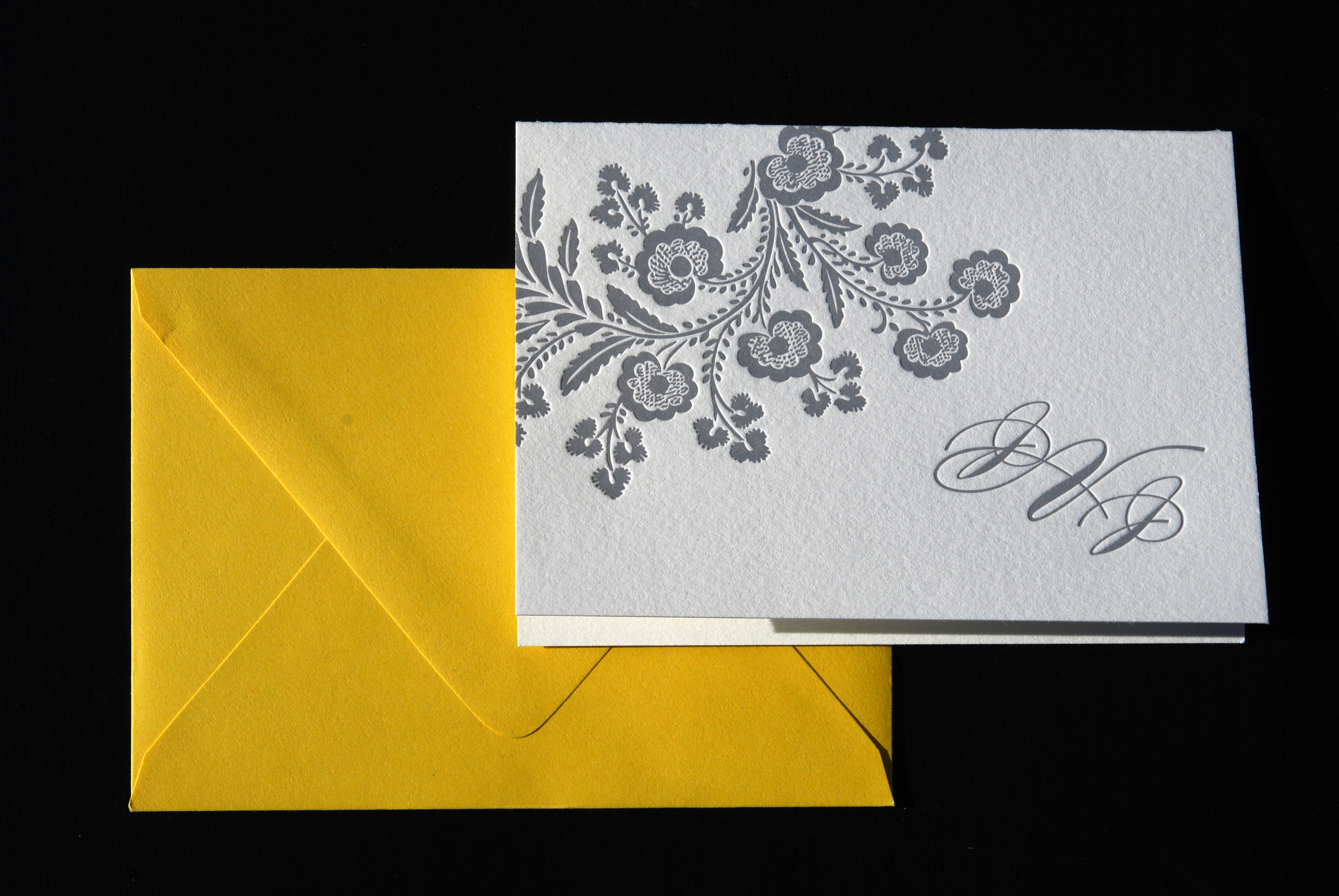 Stationery, yellow, gray, invitation, Modern, Classic, Classic Wedding Invitations, Modern Wedding Invitations, Invitations, Bouquet, Monogram, Floral, Letterpress, Fresh, The aerialist press