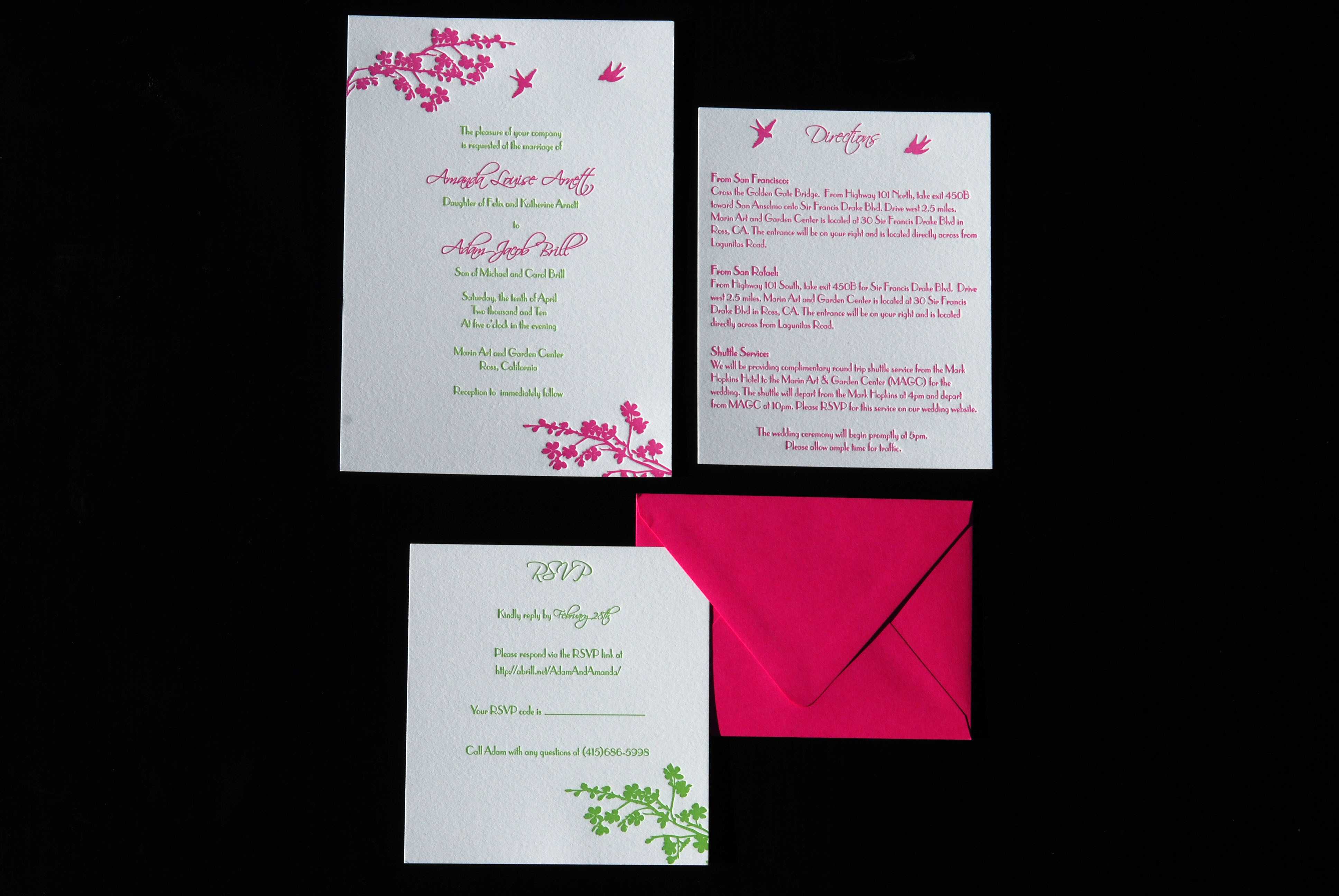 Stationery, pink, green, invitation, Summer, Invitations, Bird, Blossom, Branch, Cherry, Letterpress, Card, Apple, Response, The aerialist press