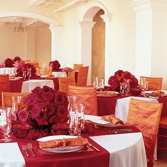 Reception, Flowers & Decor, white, orange, red