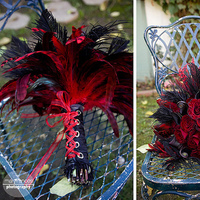 Beauty, Flowers & Decor, red, black, Feathers, Bride Bouquets, Flowers, Bouquet, Fujikos flowers