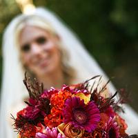 Ceremony, Flowers & Decor, orange, pink, purple, gold, Ceremony Flowers, Bride Bouquets, Flowers, Bouquet, Bride bouquet, Fujikos flowers