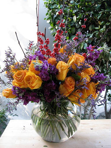 Flowers & Decor, yellow, purple, Centerpieces, Flowers, Centerpiece, Fujikos flowers