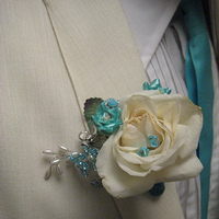 Flowers & Decor, white, blue, Boutonnieres, Flowers, Boutonniere, Fujikos flowers