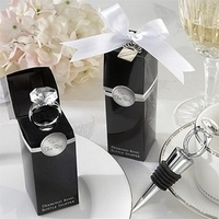 Inspiration, Reception, Flowers & Decor, Favors & Gifts, white, black, silver, favor, Ring, Board, Engagement, Bottle, Stopper, Enchanted engagement favors